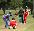 Alex Smith bowling against Afghanistan U19