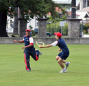 Ashish Gadhia and Mark Chapman enjoy a warm-up game at Nelson Park, Napier