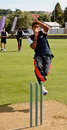 Harmeet Singh bowls in the nets at Nelson Park, Napier