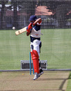 Ashish Gadhia batting in the nets at Nelson Park, Napier