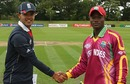 Andre Creary and Azeem Rafiq at the toss, England v West Indies, Quarter-final, ICC Under-19 World Cup, Rangiora, January 23, 2010