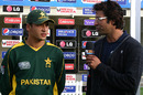 Fayyaz Butt, the Man of the Match, speaks to Wasim Akram, India Under-19s v Pakistan Under-19s, 4th Quarter-Final, ICC Under-19 World Cup, Lincoln, January 23, 2010