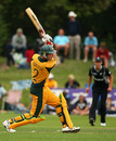 Tim Armstrong drives during his innings of 39, New Zealand Under-19s v Australia Under-19s, 3rd Quarter-Final, ICC Under-19 World Cup, Rangiora, January 24, 2010