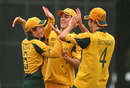 Nick Buchanan, Mitchell Marsh and Luke Doran celebrate another wicket, New Zealand Under-19s v Australia Under-19s, 3rd Quarter-Final, ICC Under-19 World Cup, Rangiora, January 24, 2010