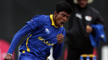 Charith Jayampathi punctuates one of his four wickets