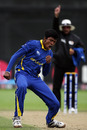 Charith Jayampathi punctuates one of his four wickets, South Africa Under-19s v Sri Lanka Under-19s, 2nd Quarter-Final, ICC Under-19 World Cup, Lincoln, January 24, 2010