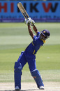 Akshu Fernando goes over the top during his 52, Australia U-19 v Sri Lanka U-19, World Cup semi-final, Lincoln, January 27, 2010