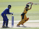 Tom Triffitt punches during his 50, Australia U-19 v Sri Lanka U-19, World Cup semi-final, Lincoln, January 27, 2010