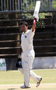 Qasim Sheikh celebrates his century, Kenya v Scotland, ICC Intercontinental Cup, Nairobi, 2nd day, January 26, 2010
