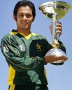 Azeem Ghumman poses with the Under-19 World Cup, Christchurch, January 28, 2010