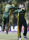 Mohammad Waqas celebrates with Sarmad Bhatti after he dismissed Tom Beaton, Australia v Pakistan, Under-19 World Cup final, Lincoln, 30 January, 2010