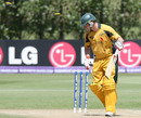 Tim Armstrong is bowled by Sarmad Bhatti, Australia v Pakistan, Under-19 World Cup final, Lincoln, 30 January, 2010