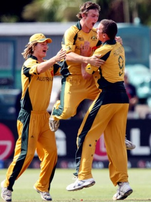 Mitchell Marsh, Josh Hazlewood and Tom Beaton celebrate the fall of Hammad Azam, Australia v Pakistan, Under-19 World Cup final, Lincoln, 30 January, 2010
