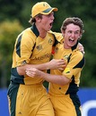 Mitchell Marsh and Luke Doran are ecstatic after the fall of another Pakistani wicket, Australia v Pakistan, Under-19 World Cup final, Lincoln, 30 January, 2010
