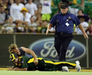 Khalid Latif is taken to the ground by a pitch invader, Australia v Pakistan, 5th ODI, Perth, January 31, 2010