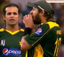A screen grab of Shahid Afridi biting the ball, Australia v Pakistan, 5th ODI, Perth, January 31, 2010