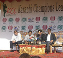 Rashid Latif (second from left) at the launch of the Karachi Champions League, Karachi, February 2, 2010