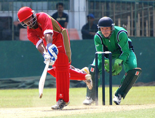Niall O'Brien behind Canadian batsman Hiral Patel