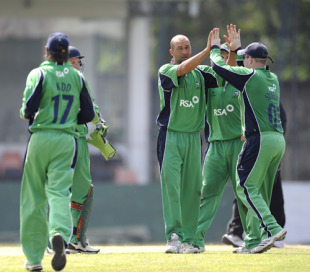 Ireland celebrate a rare wicket during their match against Canada, Canada v Ireland, Sri Lanka Associates T20 Series, 3rd Match, Colombo, February 3, 2010