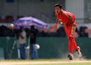 Umar Bhatti sends a delivery down, Afghanistan v Canada, Associate T20 Series, Colombo, February 4, 2010