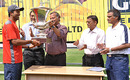 West Zone captain Wasim Jaffer receives the Duleep Trophy from Shivlal Yadav
