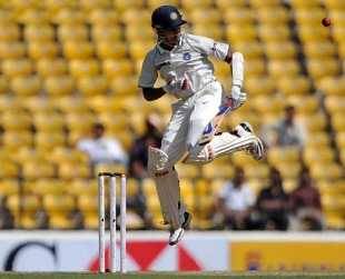 S Badrinath jumps to play a short ball, India v South Africa, 1st Test, Nagpur, 3rd day, February 8, 2010
