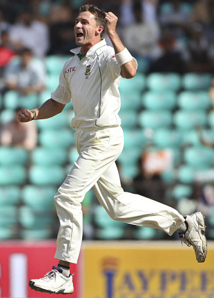 Dale Steyn celebrates one of his seven wickets, India v South Africa, 1st Test, Nagpur, 3rd day, February 8, 2010
