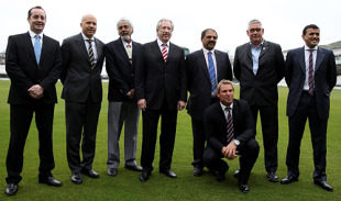 Stuart Robertson of Hampshire, Sean Morris the CEO of Rajasthan Royals, Dr Allen Sammy of Trinidad and Tobago Cricket Board, Rod Bransgrove the chairman of Hampshire, Mohammed Ebrahim and Andre Odendaal, the chairman and chief executive of the Cape Cobras and Manoj Badale the chairman of the Rajasthan Royals along with Shane Warne during the launch of the Royals 2020, London, February 8, 2010