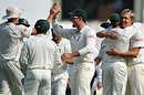 The South Africans celebrate with Paul Harris after M Vijay departs