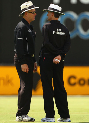 Billy Bowden explains his slow thinking on the Narsingh Deonarine decision to Bruce Oxenford, Australia v West Indies, 2nd ODI, Adelaide, 9 February, 2010