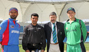Afghanistan captain Nawroz Mangal, third umpire Aleem Dar, match referee David Jukes, and Ireland captain William Porterfield at the toss