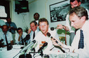 Michael Atherton answers questions at a press conference
