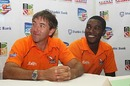 Chris Silverwood and Elton Chigumbura at the launch of Zimbabwe's Twenty20 tournament, Harare, February 10, 2010
