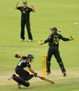 Rachael Haynes' direct hit ended Maria Fahey's innings on 12, Australia v New Zealand, 2nd ODI, Rose Bowl Series, Adelaide, 11 February, 2010