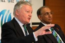 David Morgan, the ICC chairman, gives a press conference alongside Haroon Lorgat, Dubai, February 11, 2010