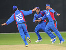 Hamid Hassan celebrates another wicket as Afghanistan marched through to the World Twenty20 in style, ICC World Twenty20 Qualifier, Super Four, Dubai, February 13, 2010