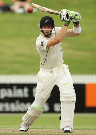 Martin Guptill drives authoritatively during his innings, New Zealand v Bangladesh, only Test, Hamilton, February 15, 2010