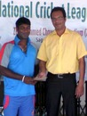 Robiul Islam gets the Man-of-the-Match award after leading Khulna to victory