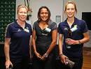 Alex Blackwell and Ellyse Perry pose with Olympian Cathy Freeman