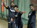 India's pace trio of Sudeep Tyagi, Praveen Kumar and Ashish Nehra during a training session, Jaipur, February 20