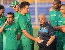 Graeme Smith with South African players and management, India v South Africa, 2nd Test, Kolkata, 5th day, February 18, 2010
