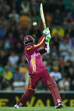 Denesh Ramdin drives through the off side, Australia v West Indies, 1st Twenty20, Hobart, February 21, 2010