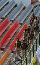 Security guards do a round of the Captain Roop Singh Stadium, Gwalior, February 22, 2010