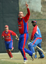Ryan Driver is confident that he has Lennox Cush caught behind, Jersey v USA, ICC World Cricket League Division Five, Kirtipur, February 23, 2010