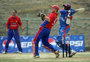 Rashard Marshall smacks one over the square leg boundary, Jersey v USA, ICC World Cricket League Division Five, Kirtipur, February 23, 2010