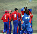 Carl Wright is peeved with himself for getting out for 76, Jersey v USA, ICC World Cricket League Division Five, Kirtipur, February 23, 2010