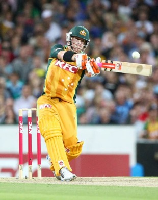 David Warner pulls during his 18-ball half-century, Australia v West Indies, 2nd Twenty20, Sydney, February 23, 2010