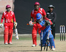 Buddika Mendis is run out by a fair distance, Singapore v USA, ICC World Cricket League Division Five, Lalitpur, February 24, 2010