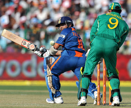 Sachin Tendulkar's paddle-sweep evades Mark Boucher's gloves