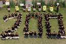 Indian schoolkids form the number 200 in tribute to Sachin Tendulkar's double century, Amritsar, February 25, 2010